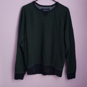 Mens Athletic Fit Green & Navy Crew Sweater [AEO]